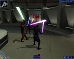 The three Jedi fighting a Sith apprentice.